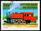 Canceled Guinea Train Postage Stamp Old Railroad Steam Engine Lo — Stock Photo