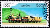 Canceled Laos Train Postage Stamp Old Railroad Steam Engine Loco — Stock Photo