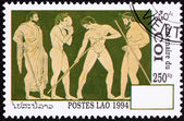 Laos Postage Stamp Side View Nude Greek Athletes Laurel Wreath — Stock Photo