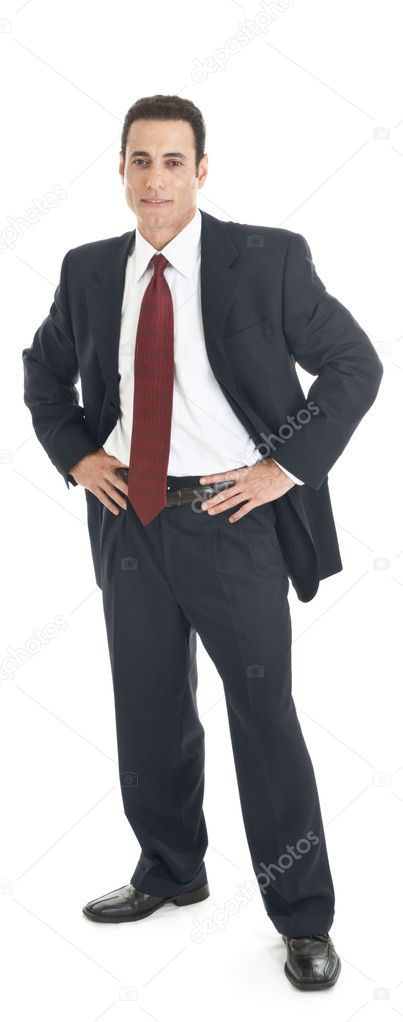 Caucasian business man in suit standing full body isolated whi