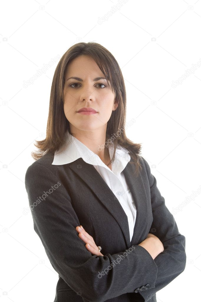Confident Caucasian business woman, crossed arms, isolated on white background. — Stock Photo #7893681