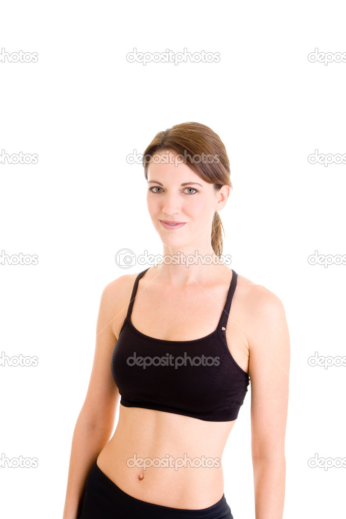 Happy Caucasian woman in work out clothing on isolated white background — Stock Photo #7894073