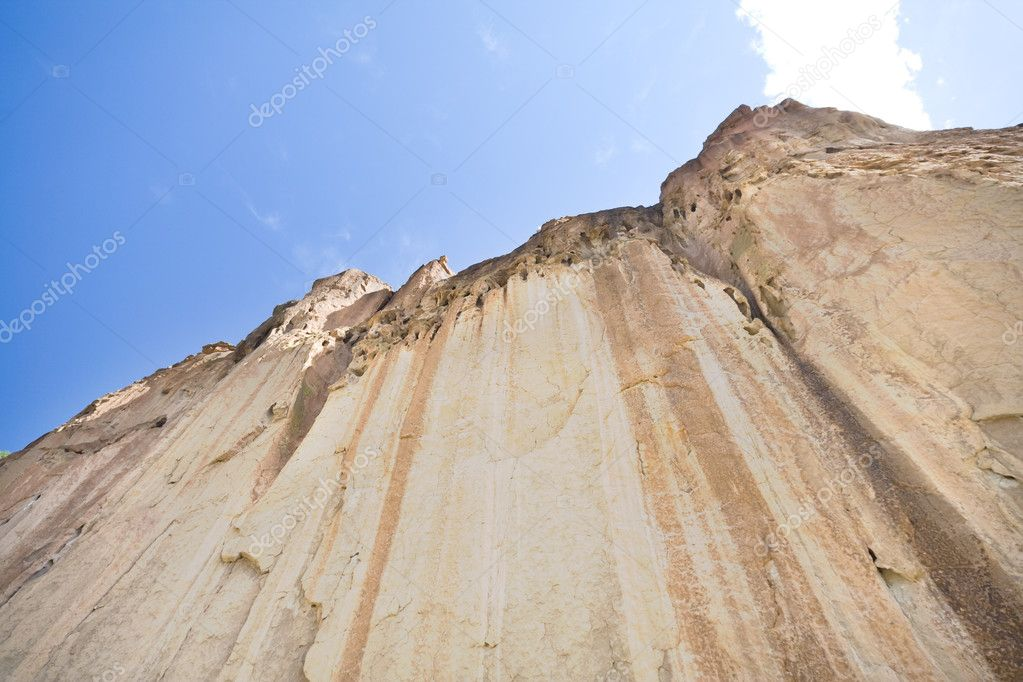 Tuff Ash deposits from the eruption of the Valles Caldera, Bandelier National Monument New Mexico.  Deposits are hundreds of feet think — Stock Photo #7894824