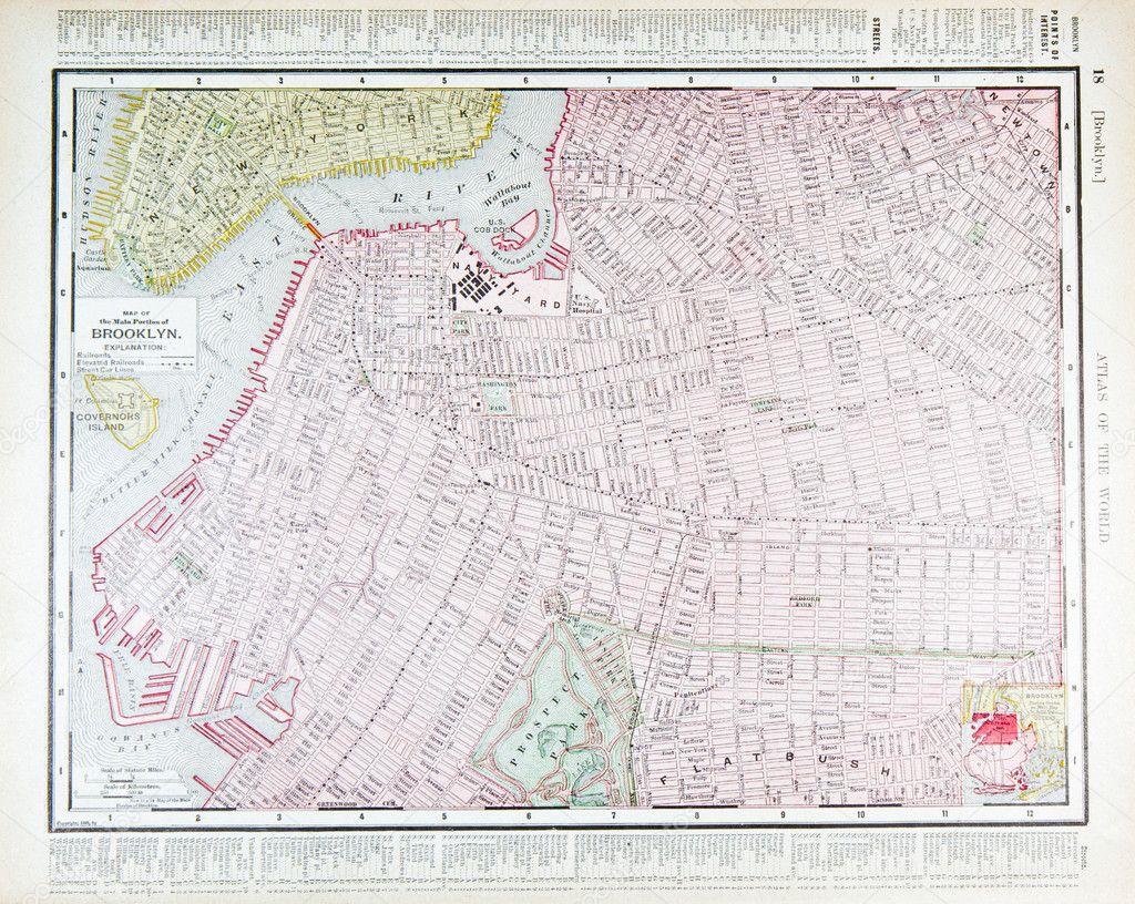 复古街道地图,市中心布鲁克林,纽约,纽约州 1900— photo by qingwa
