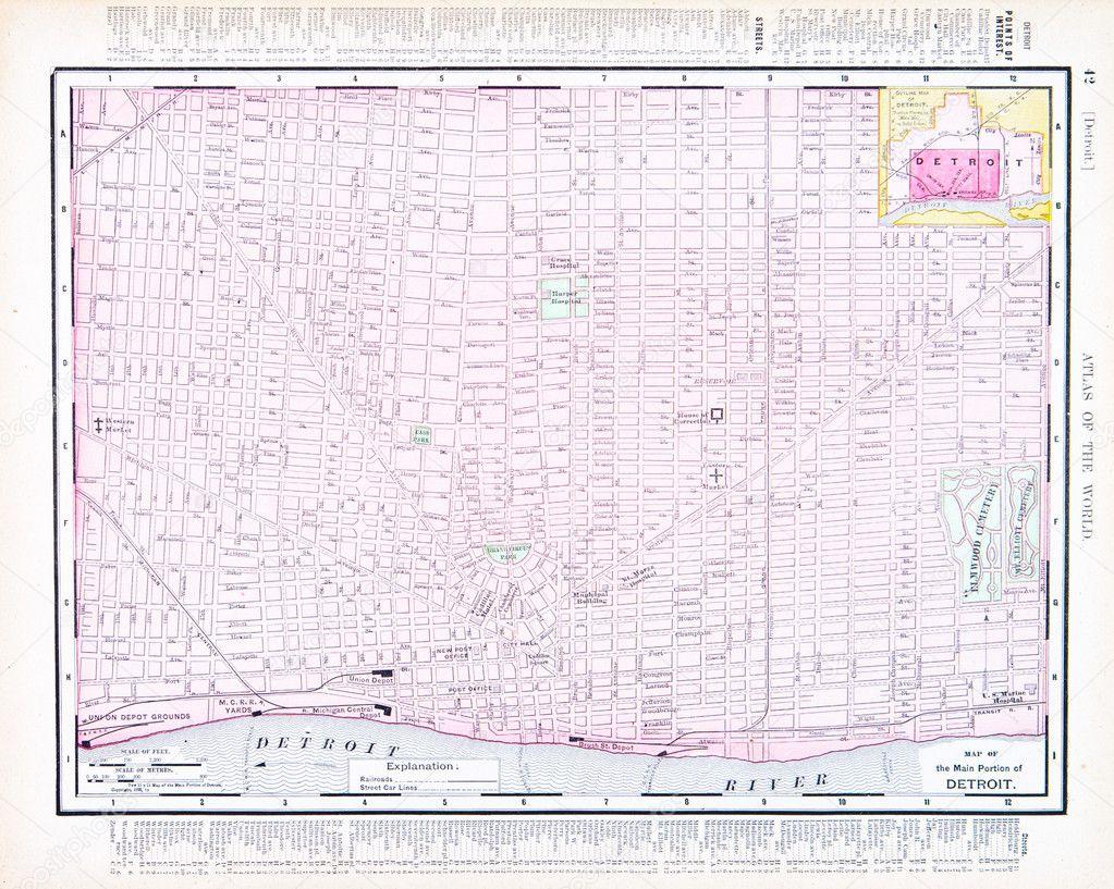 Color Street City Map Of Detroit Michigan MI USA  Stock Photo - Usa map states detroit