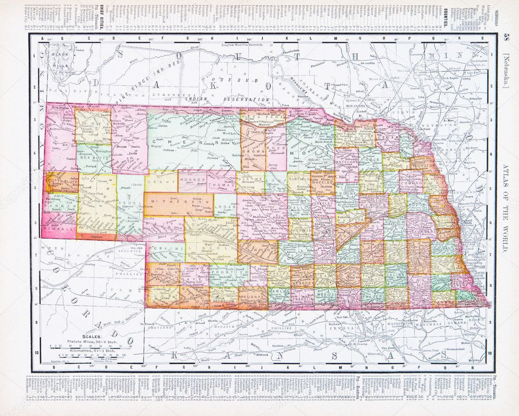 Vintage Color Map Of Nebraska NB USA  Stock Photo - United states map to color