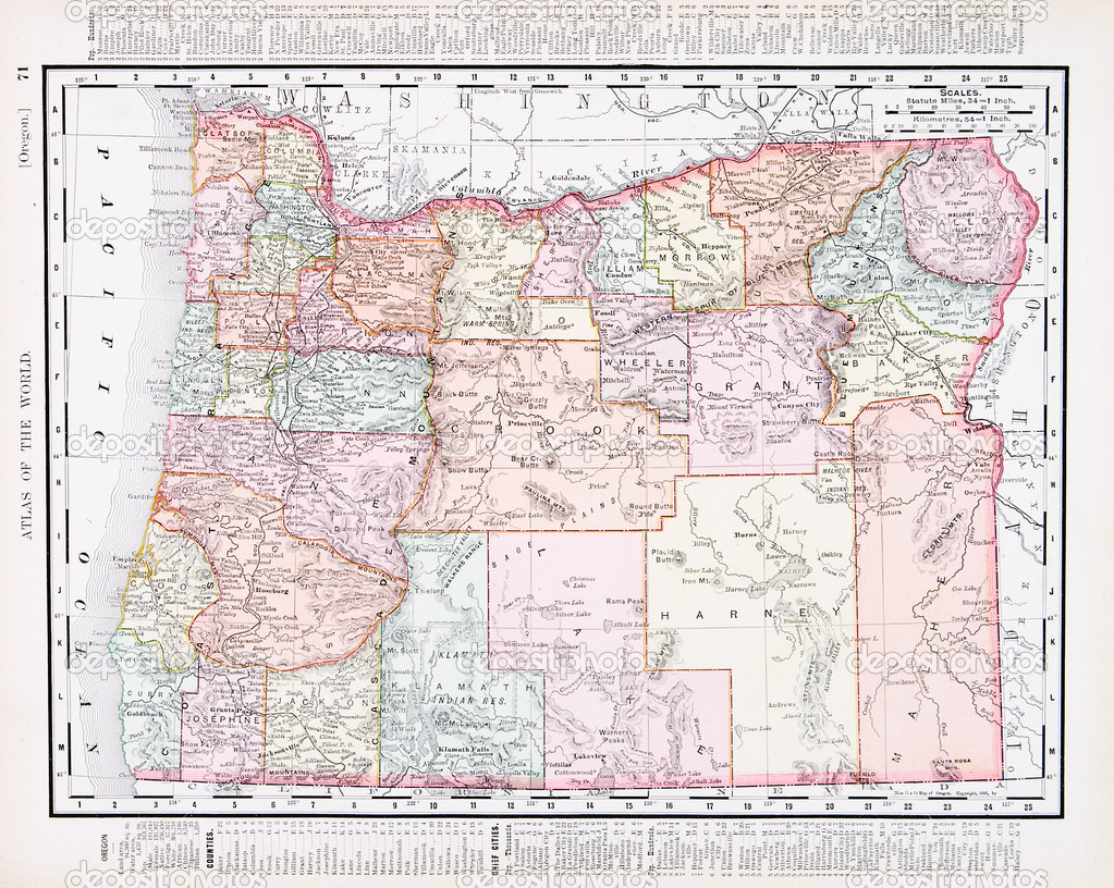 Antique Vintage Color Map Of Oregon USA  Stock Photo  Qingwa - United states map to color