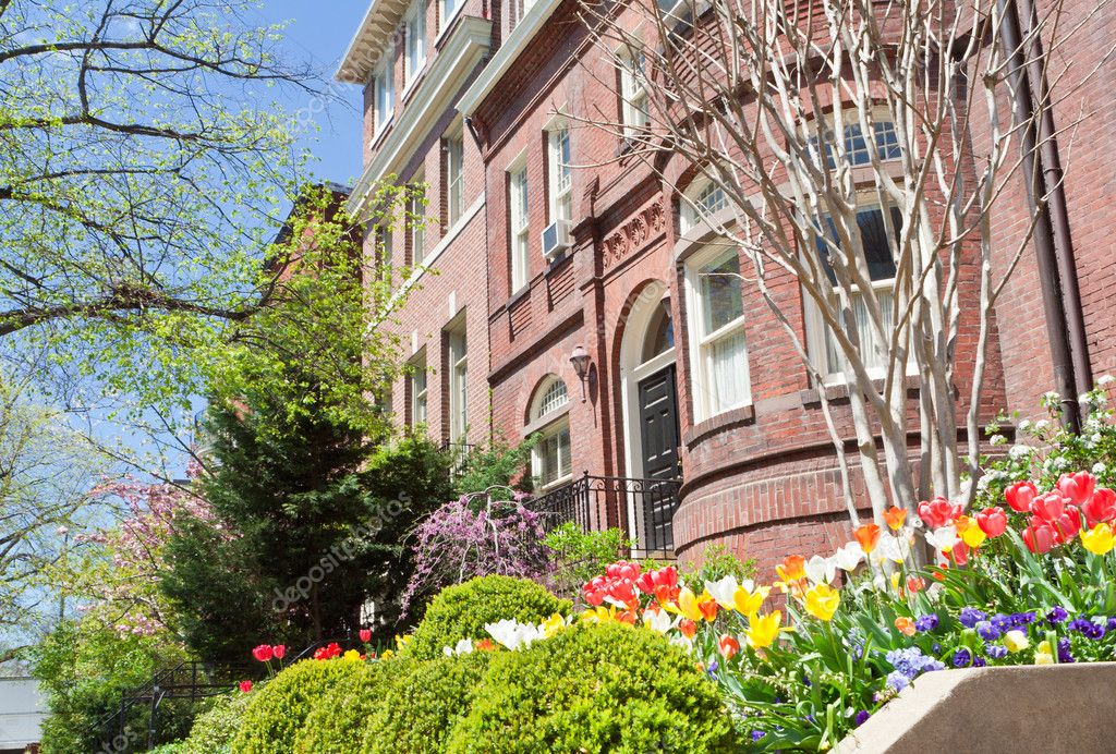 Spring Flowers Richardsonian Romanesque Row Houses Stock