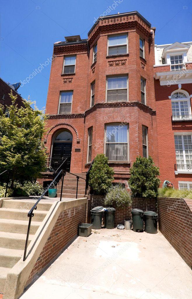 Richardsonian Romanesque Brick Row House Dc Usa Stock