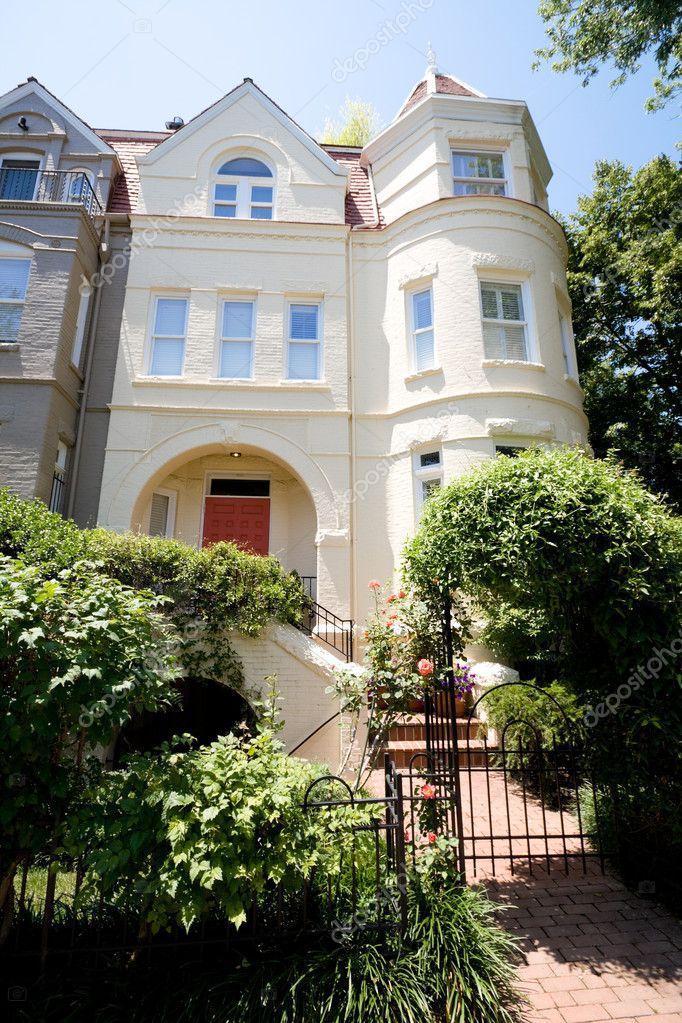 Richardsonian Romanesque Row House Home Washington Stock