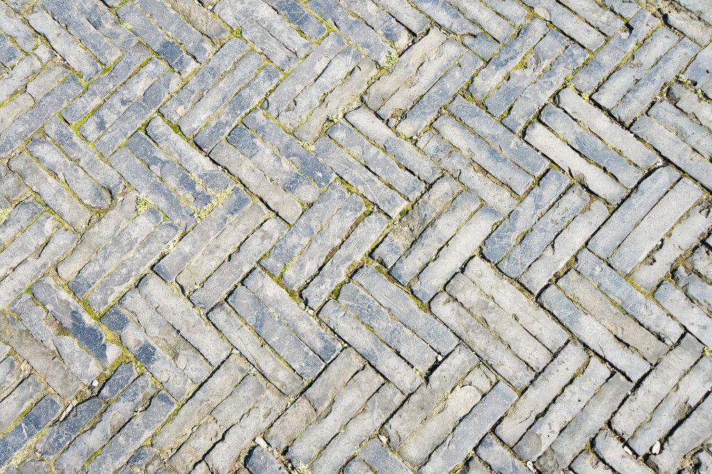... Zigzag Brick Pattern, Sidewalk in Old Shanghai China - Stock Image