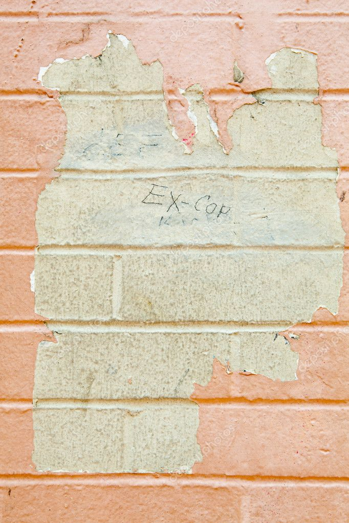 Paint peeling off grungy and dirty brick wall.  Grafitti reads Ex-Cop  Stock Photo #7896624