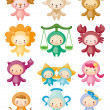 Set of isolated cute zodiac symbols - Imagen vectorial
