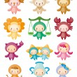 Royalty-Free Stock Immagine Vettoriale: Set of isolated cute zodiac symbols