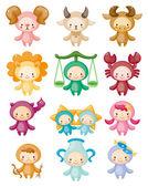 Conjunto de símbolos del zodiaco lindo aislado — Stockvector