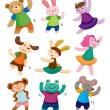 Cartoon animal dancer icons — Stock Vector