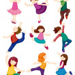 Cartoon dancer set — Stock Vector