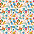 Royalty-Free Stock Vector Image: Cartoon animal chef seamless pattern