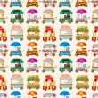 Stock Vector: Cartoon market store car seamless pattern