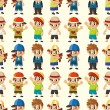 Stock Vector: Cartoon kid seamless pattern