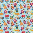 Cartoon superman seamless pattern - Stock Vector