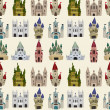 Stock Vector: Cartoon Fairy tale castle seamless pattern