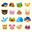 Cartoon animal face set - 
