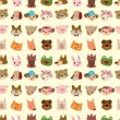 Cartoon animal face seamless pattern - Stock Vector
