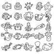 Hand draw aquarium fish icons set - Stock Vector