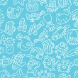 Royalty-Free Stock Vector Image: Cartoon hand draw fish seamless pattern