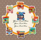Cartoon market store car card — Stock Vector