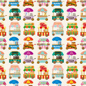 Cartoon market store car seamless pattern — Stock Vector