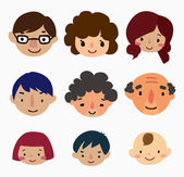 Cartoon family face icons — Stock Vector
