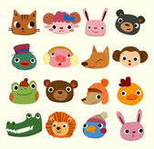 Icônes tête animaux de dessin animé — Vecteur