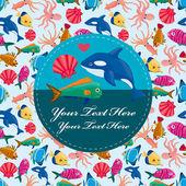 Cartoon fish card — Stock Vector