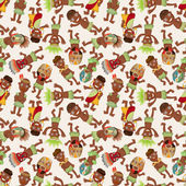 Cartoon Africa Indigenous seamless pattern — Stock Vector