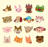 Cartoon animal face icons — Stock Vector