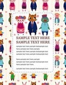 Cartoon animal family card — Stock vektor