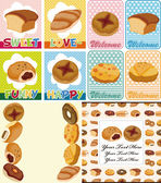 Cartoon bread card — Stock Vector