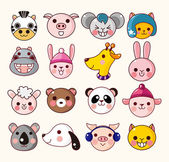 Cartoon animal face icons — Stock Vector