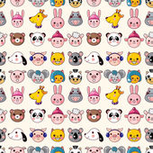 Cartoon animal face seamless pattern — Stock Vector
