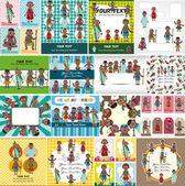 Dessin animé carte autochtones d'Afrique — Vecteur
