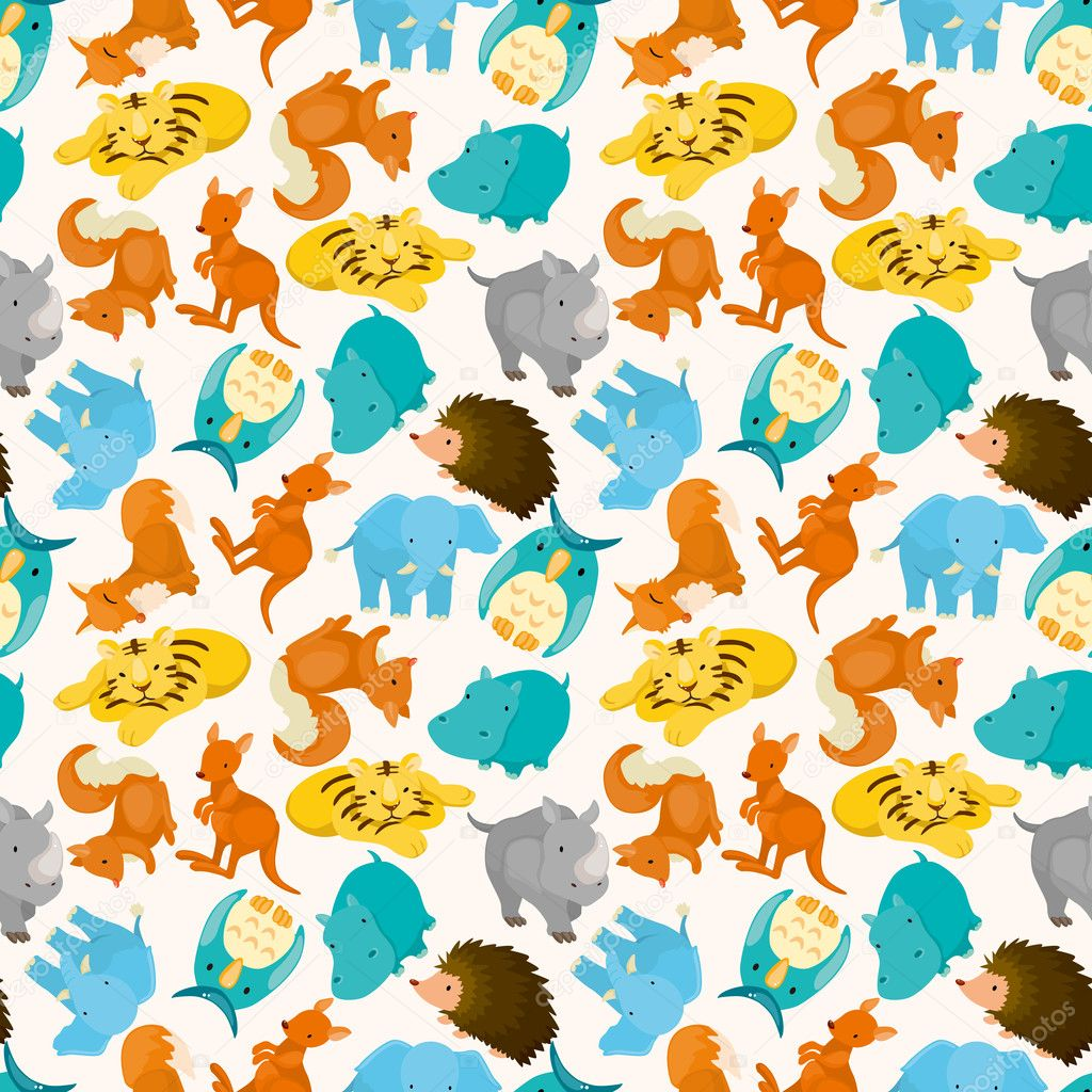 Seamless cartoon animal pattern — Stock Vector #7846620