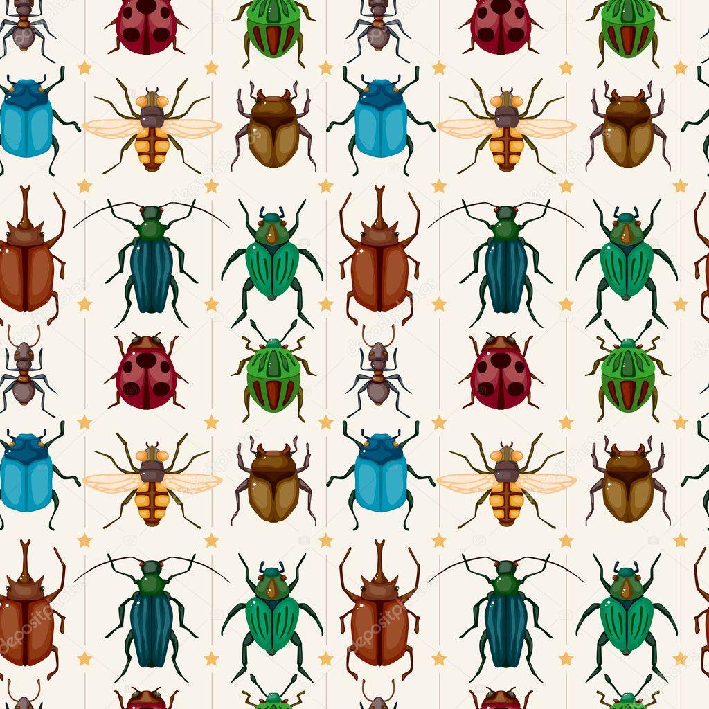 Cartoon insect bug seamless pattern stock illustration