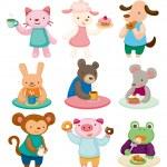 Cartoon animal tea time set — Stock Vector