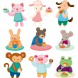 Cartoon animal tea time set — Stock Vector