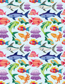 Cartoon aquatic animal seamless pattern — Stock Vector