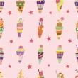 Seamless ice cream pattern — Stock Vector