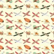 Seamless airplane pattern - Vettoriali Stock