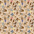 Seamless west cowboy pattern - Stock Vector